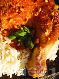 Пиле по индийски със сметана, ориз и ябълки - снимка на рецептата